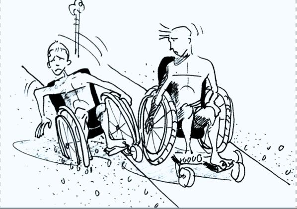 Illustration, deux personnes en fauteuil roulant sont sur la plage, une est embourbée dans le sable