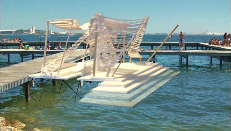 Image de la mise en scène d'un ponton Pozeia à Balaruc les bains