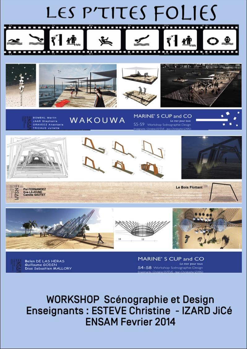 """Planche de présentation des images de synthèse réalisée en préparation des maquettes possible de POZEIA """"La mer pour tous"""""""