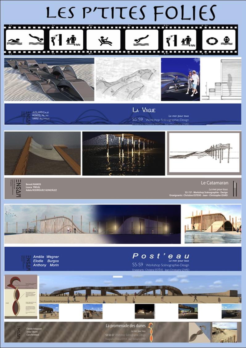 Planche de présentation des maquettes de l'école d'architecture